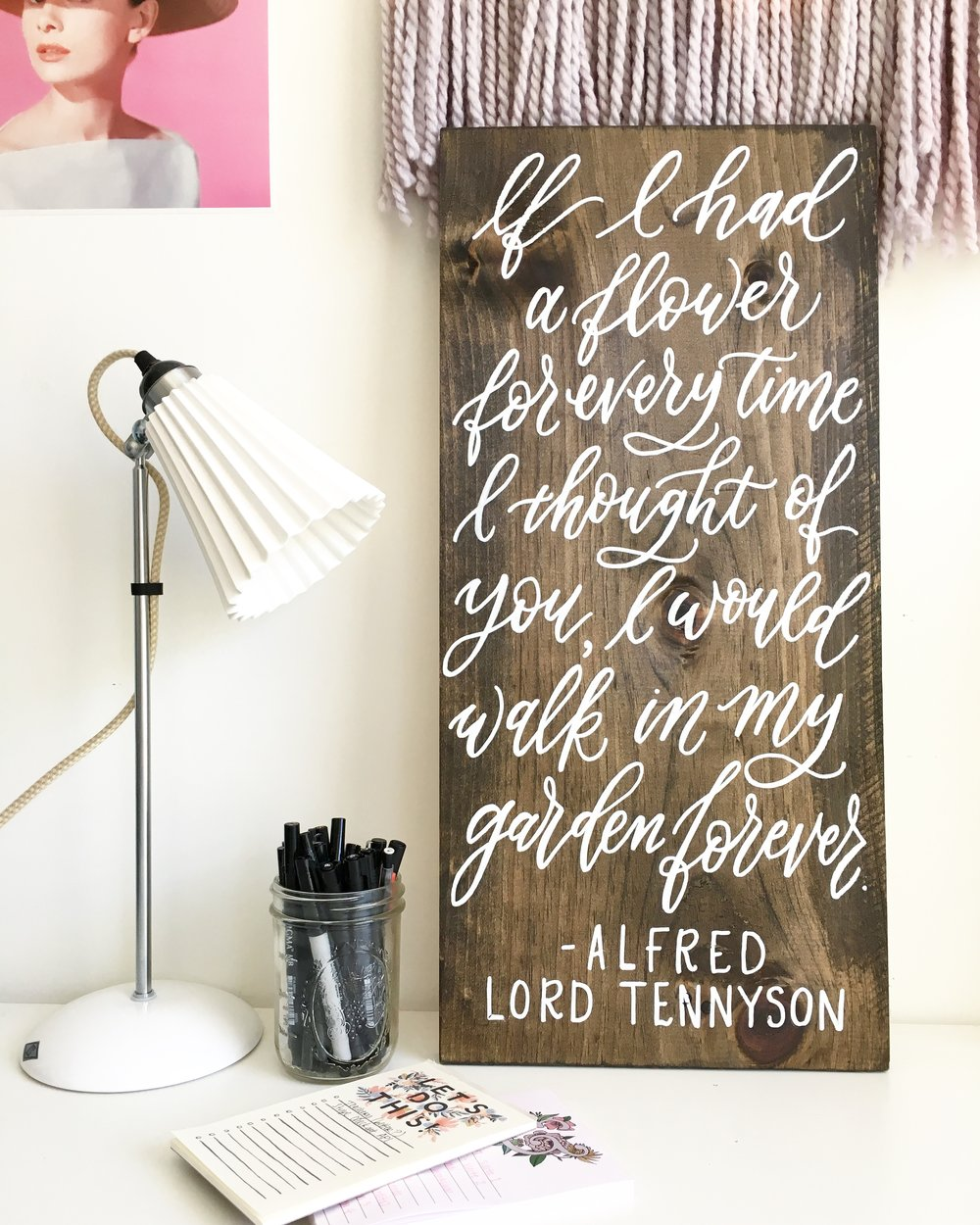 alfred lord tennyson quote on a wood sign, wood wedding sign, custom wood sign