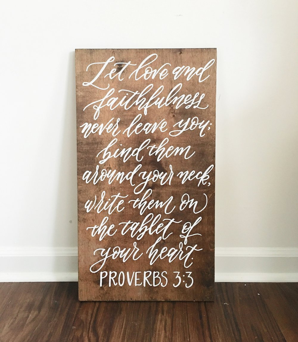 bible verse proverbs wood sign, hand lettered wood sign, custom wood sign, wood sign shop, wedding wood sign