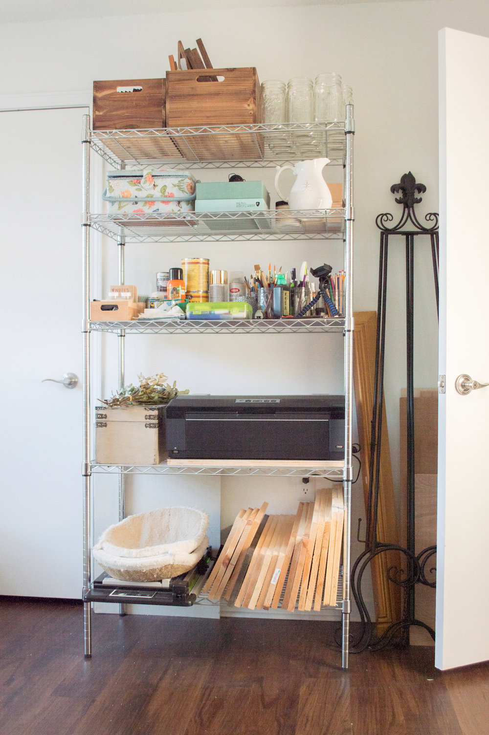 Large storage shelf that houses a ton of craft supplies and my  Epson Artisan 1430 . *this is an affiliate link*