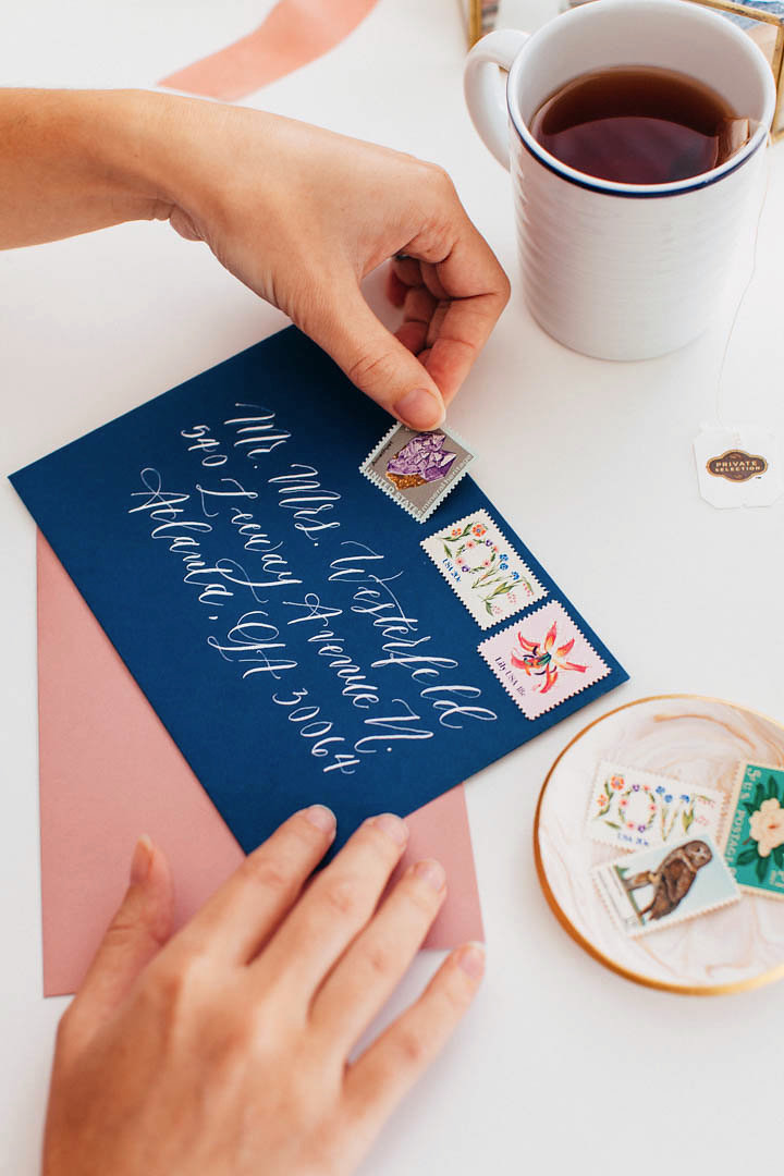 Vintage postage is a beautiful way to get even more personal and unique with your wedding invitations. Just make sure all of the stamps add up to the correct amount so that your wedding invitations get mailed ok!