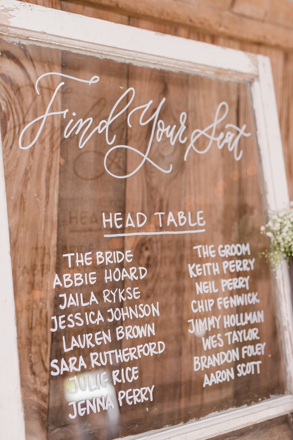 rustic seating chart, hand lettered seating chart, glass seating chart, unique seating chart, barn wedding seating chart, calligraphy seating chart
