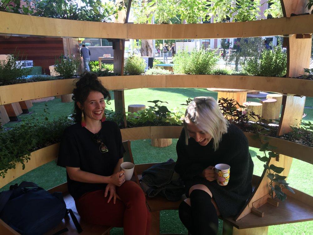 enjoying coffee in the growroom.JPG