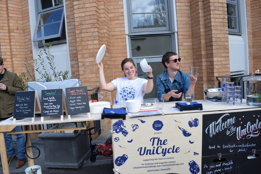 THE UNICYCLE & REUSE SERVICE   The UniCycle is our mobile kitchen with reusable plates, cups, bowls, cutlery and cooking utensils for hire to cut down on single-use plastic on campus.