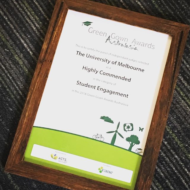 Thanks @acts_inc for recognising all our hard work with a highly commended in student engagement for the #greengownawards 2018. And thanks to @unimelb @sustainablecampus for all your support! 🥕🍎☀️🚲🍴🥣🍐 ____________  #fairfooduni #fairfood #plasticfree #reuse #waronwaste #waronwasteau #takethreeforthesea #keepcup #coffee #sustainablepackaging #consciousconsumer #wastefreeliving #saynotoplastic  #bike #bikes #awards #greengownawards #engagement #studentengagement #sustainability #greeneducation #sustainableeducation #cooking #sustainablefood #fairfood