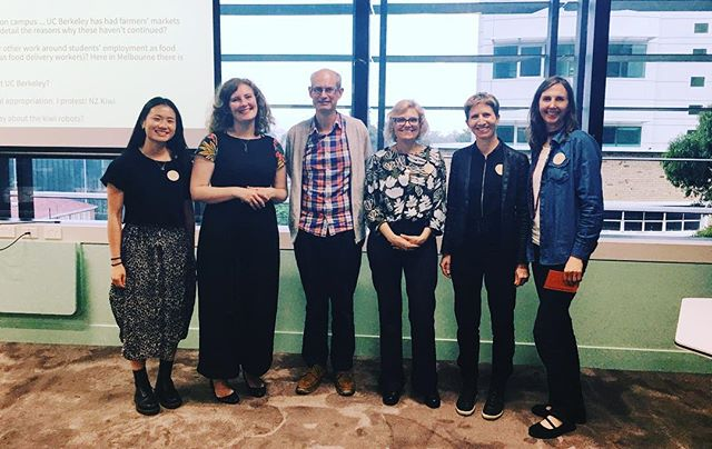 Had an incredible workshop at @unimelb yesterday with Rosalie Z Fanshel & Alastair Iles from University of California's @ucberkeleyofficial Berkeley Food Institute - Transforming Campus Environments for Fair, Healthy, Inclusive and Sustainable Food Systems. We also heard from Sandy Murray from @universityoftasmania and great contributions from our enthusiastic and brilliant audience. Thanks everyone who came along!
