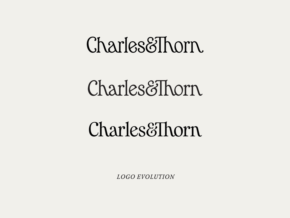 Evolution of the Charles&Thorn logo. Top to bottom: 2015, 2017, 2019