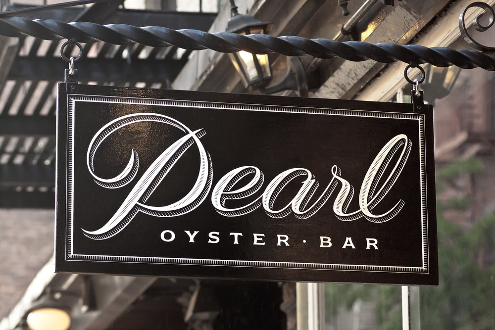 Pearl Oyster Bar logo design by Louise Fili Ltd.