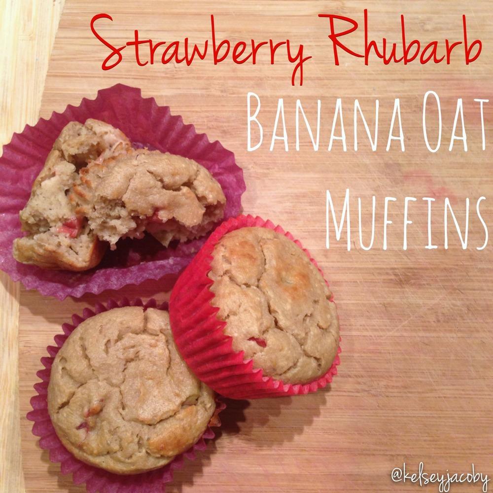 Strawberry Rhubarb Banana Oat Muffins