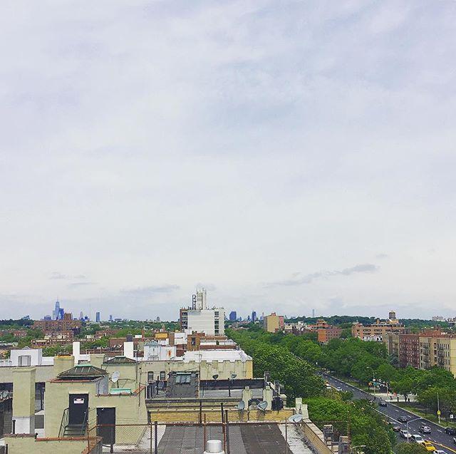 #Manhattan and #prospectpark #skyline from #oceanparkway and #ditmas #kensingtonbrooklyn #treetops  #hazyday