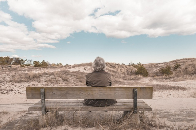 Man sitting on a bench looking at the horizon of dunes.