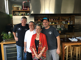 Host Poppy Tooker with Michael Brewer, Chris Montero and Justin Kennedy in the Sofab kitchen.