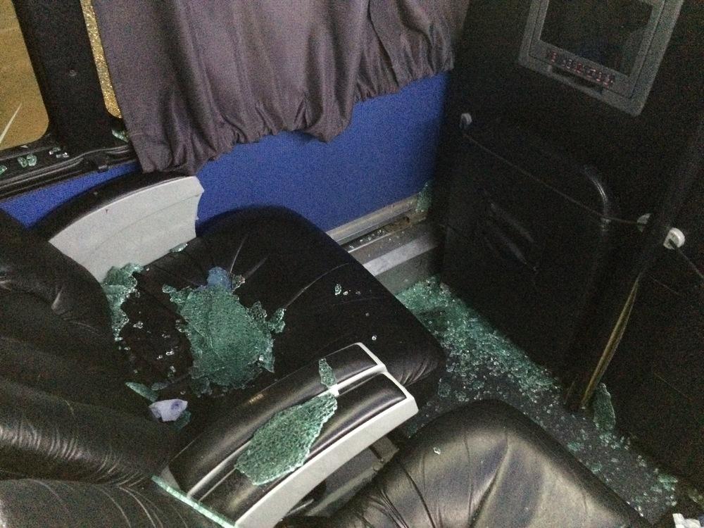 argentina bus travel broken window