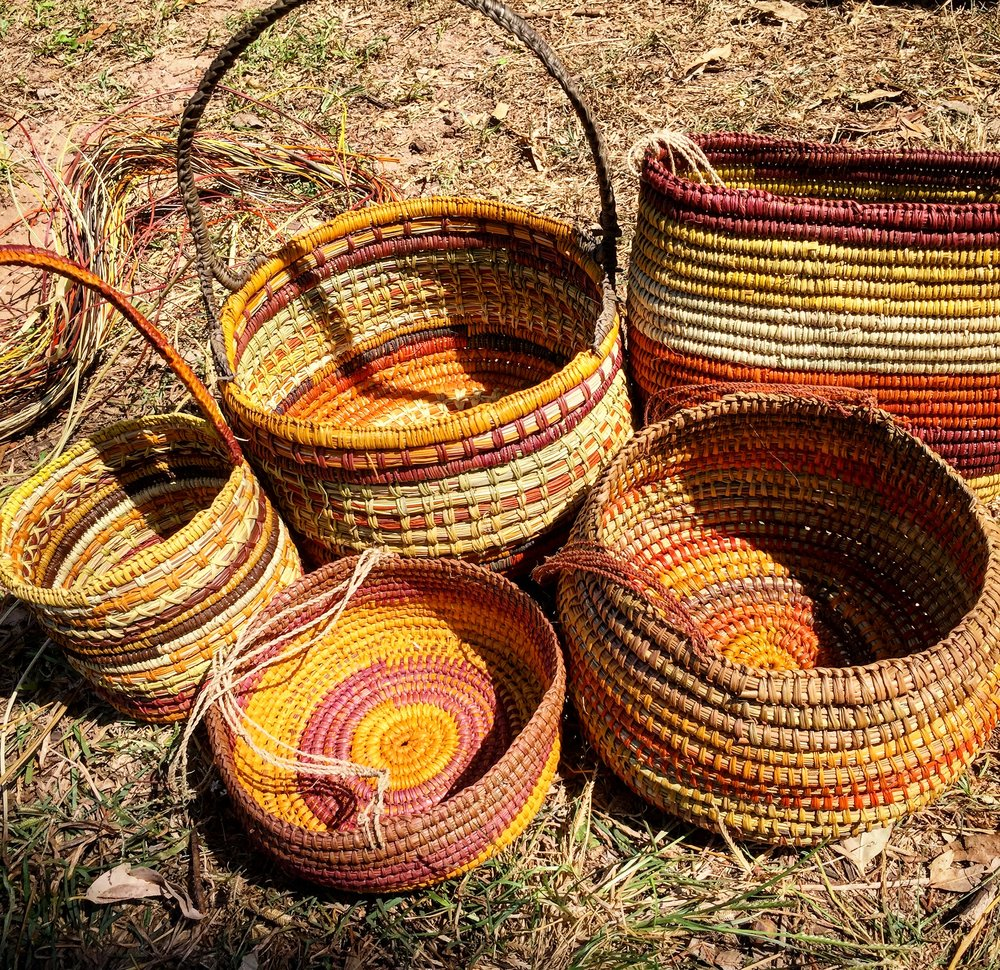 These are some baskets that the Yolngu wove for us.
