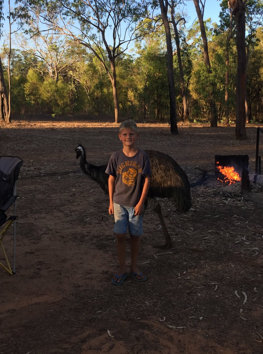 This is a place that we camped with a emu called Ozzie, she tried to eat our food.