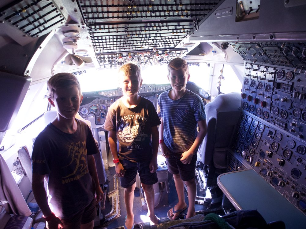 In the cockpit of the 747.