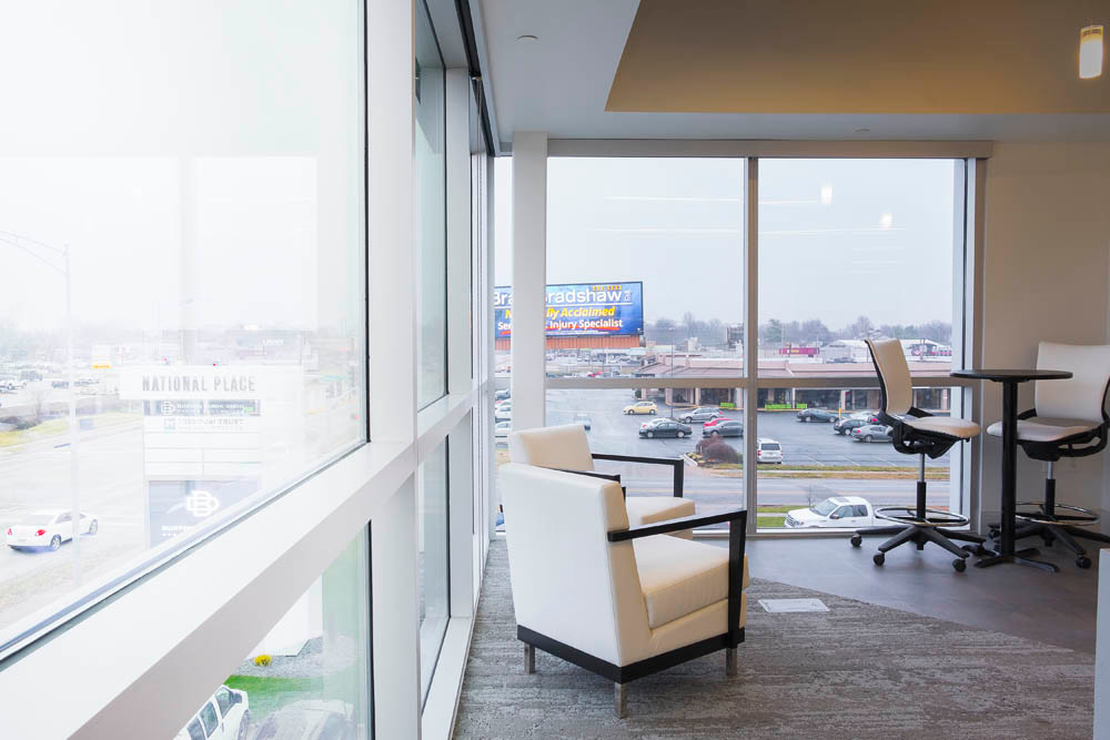 "Views To Relax Two glass walls help shape the firm's break room. Executives decided the best view in the building should be shared by all employees. ""Since we're on the third floor – most buildings in Springfield are two floors – we have great views in all directions,"" Kubik says."