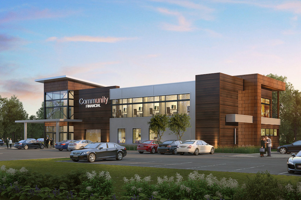 RENDERING PROVIDED BY BUXTON KUBIK DODD CREATIVE  Community Financial Credit Union is building an 11,000-square-foot office at 2624 W. Republic Road.