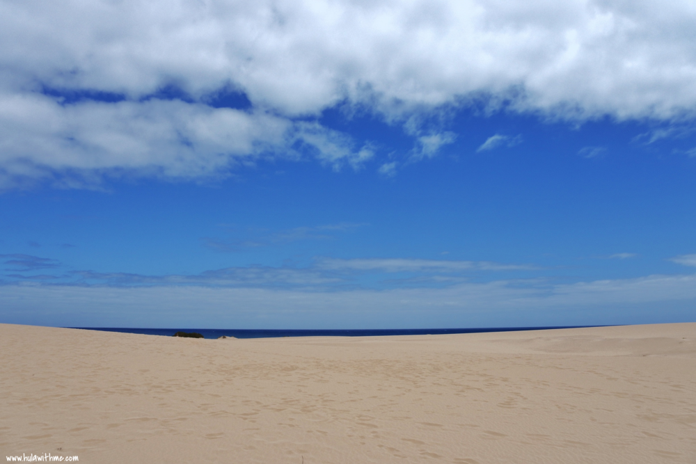 The famous sand dunes and white sand beaches at Corralejo, Fuerteventura, Canary Islands.  National Park of the Dunes of Corralejo/Parque Natural Dunas de Corralejo.