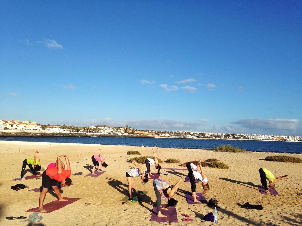 The backdrop of our morning yoga session.  Photo Credit: Sara at Ashtanga Vinyasa Fuerteventura.