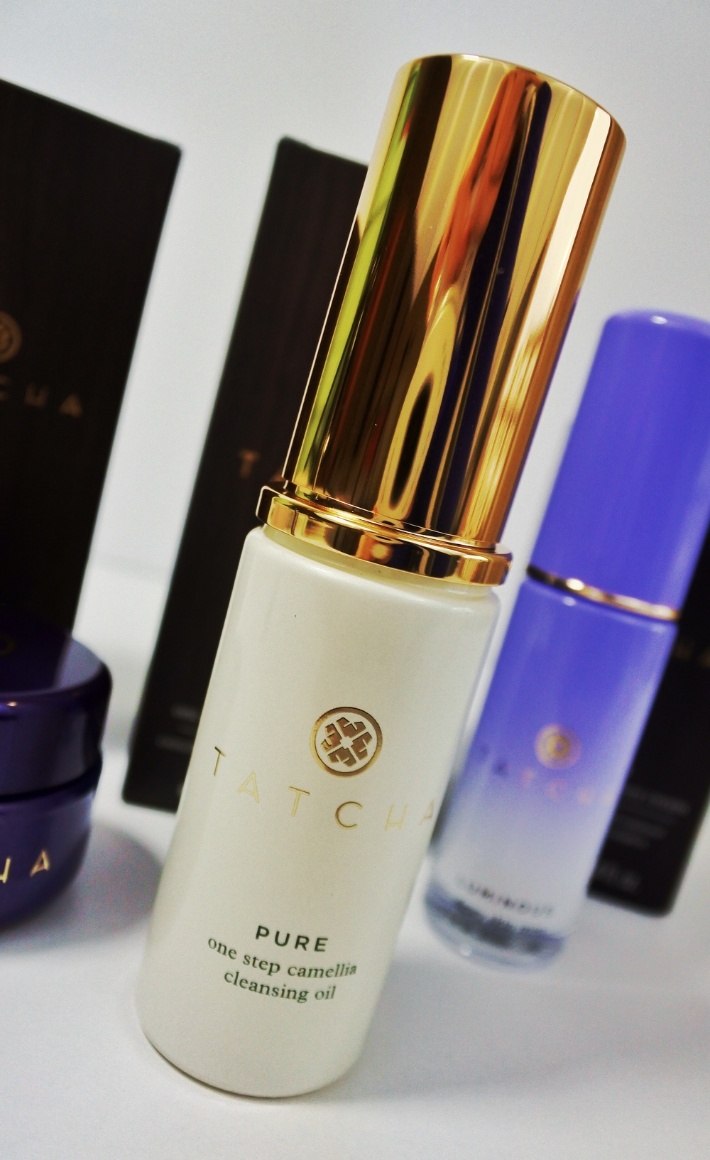 Tatcha Cleansing Oil Available at (full & travel size) -  Tatcha ,  Sephora .  Photo shows 0.8oz travel size.