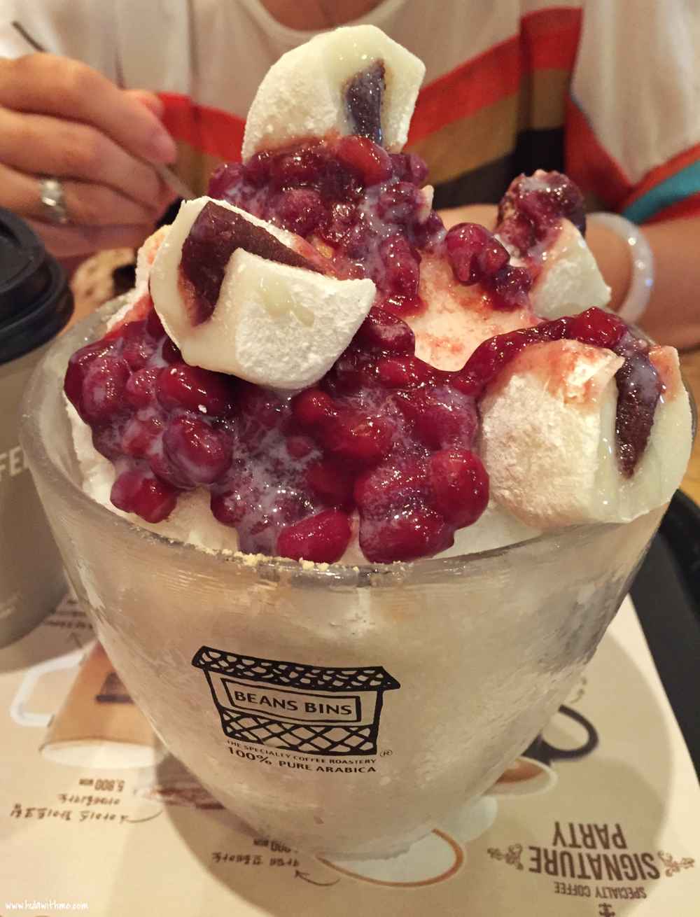 Beans Bins, a dessert and coffee place in Myeongdong, Seoul, Korea that serves giant shaved ice desserts.