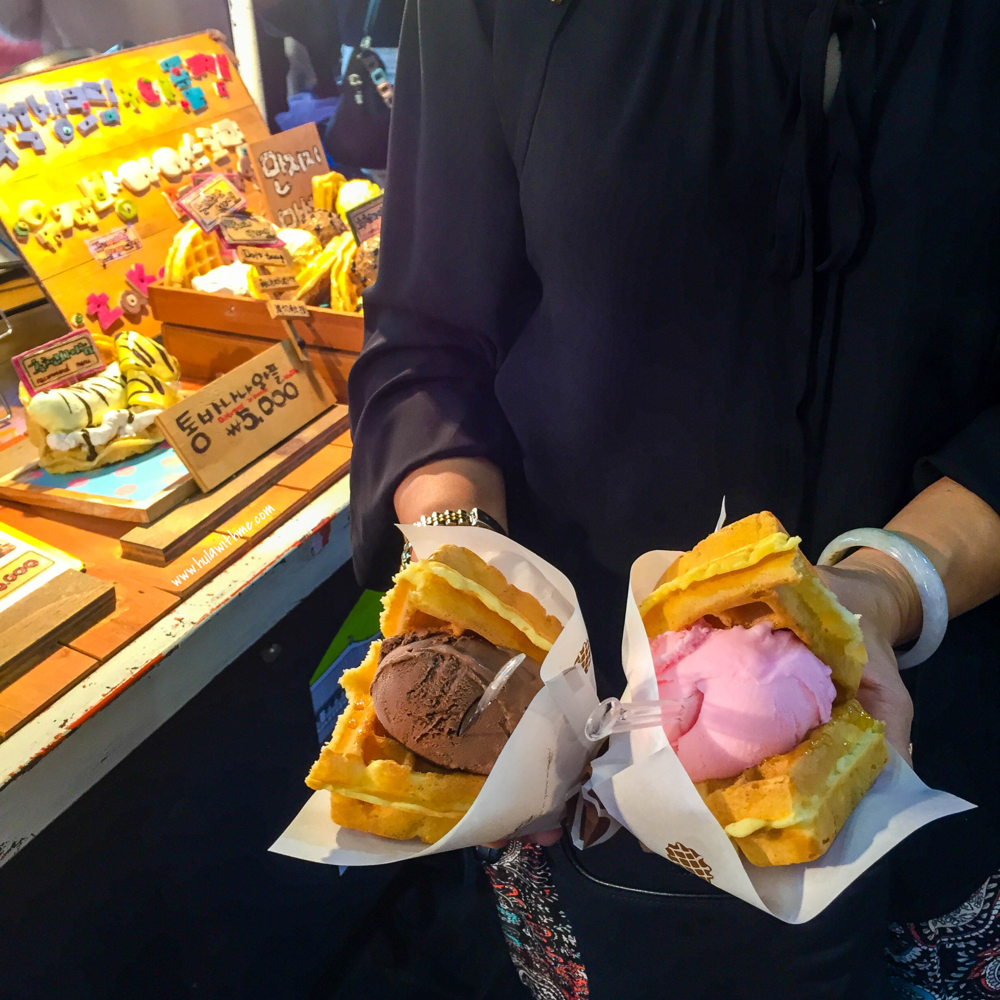 Seoul street food - The Waffle Ice Cream Sandwich