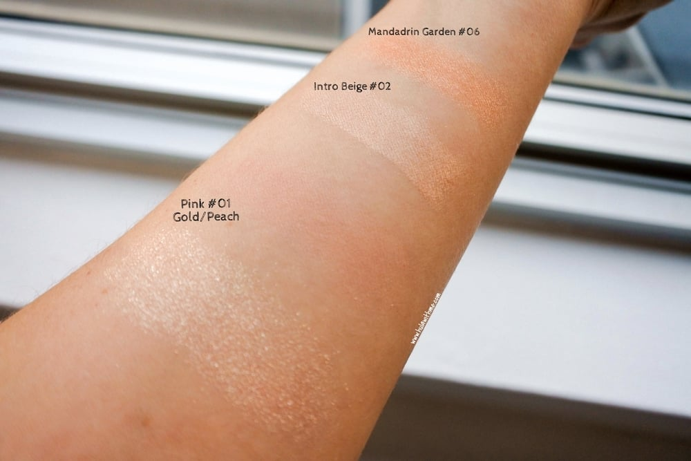 Swatches of eye shadows from Beyond Cosmetics. Natural lighting.