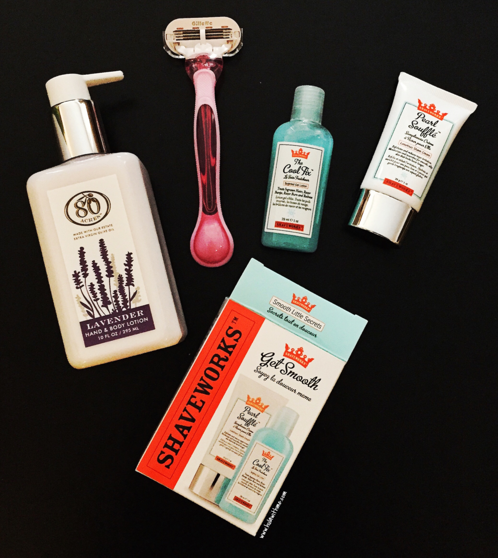 My Shaving Essentials:  80 Acres Lotion  // Gillette razor //  Shaveworks™ Get Smooth Duo