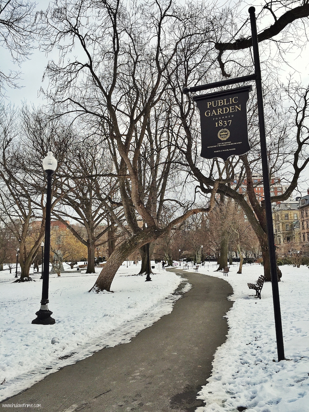 Boston Charm: Snowy scene in Boston Public Garden, Founded in 1837.