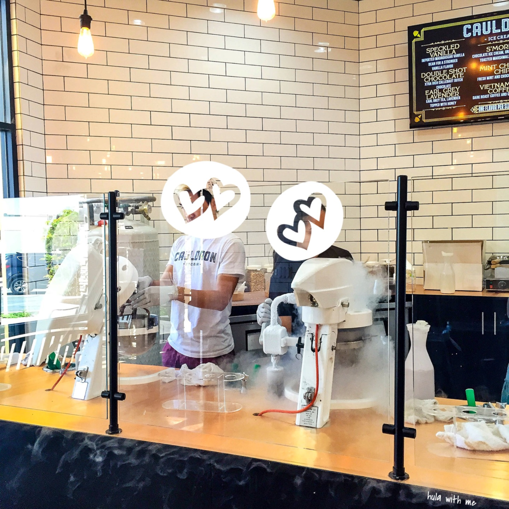 The nitrogen ice cream making process at Cauldron Ice Care in Orange County, CA
