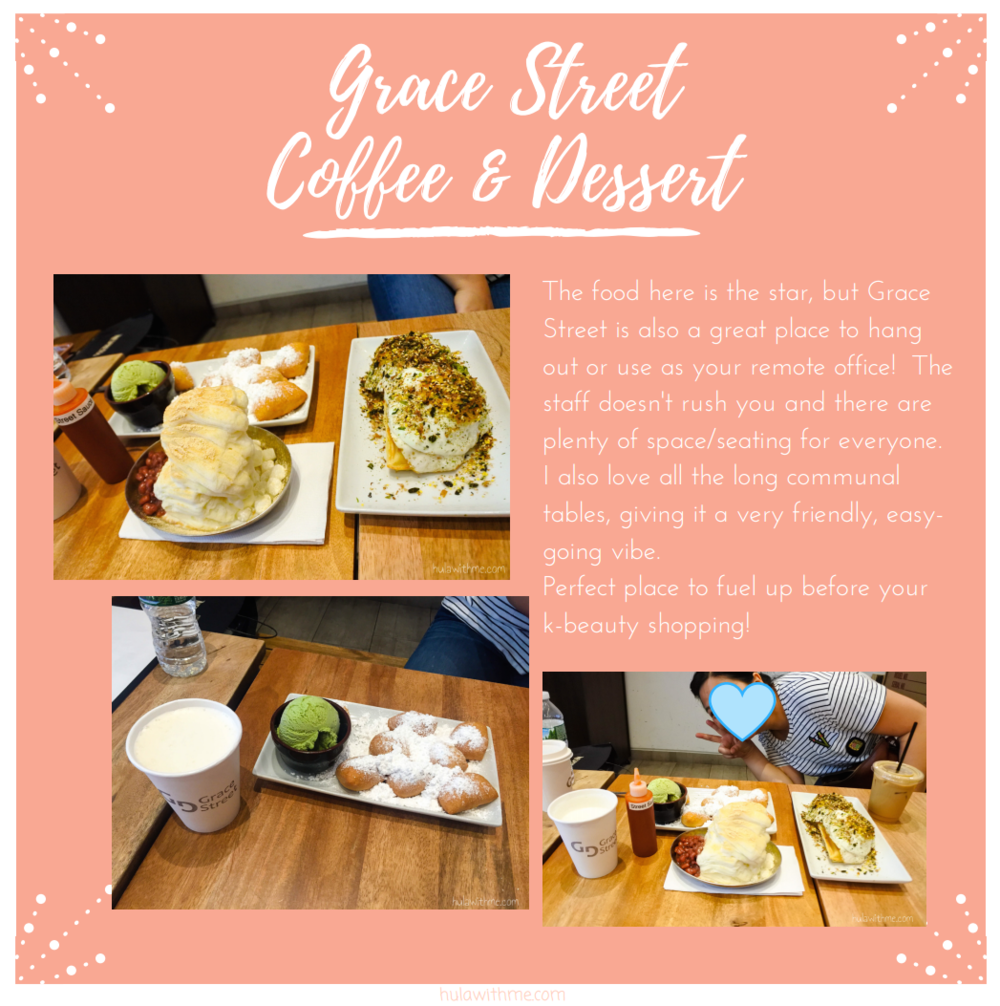 Sharing my 24-Hours Adventure in NYC // Fueling up for the K-Beauty shopping spree at Grace Street Coffee & Dessert.  The food here is the star, but Grace Street is also a great place to hang out or use as your remote ffice!  The staff doesn't rush you and there are plenty of space/seating for everyone. I also love all the long communal tables, giving it a very friendly, easy-going vibe. Perfect place to fuel up before your k-beauty shopping!