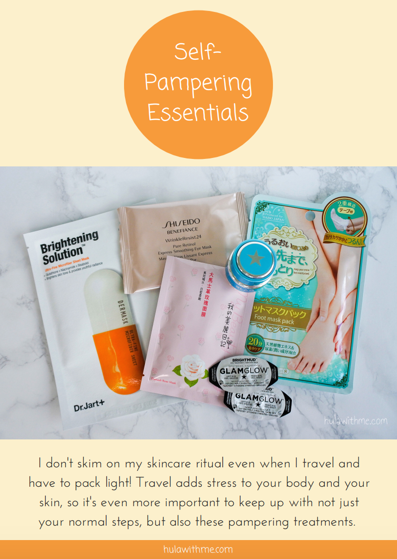 Self-Pampering Skin Care Travel Essentials   I don't skim on my skincare ritual even when I travel and have to pack light! Travel adds stress to your body and your skin, so it's even more important to keep up with not just your normal steps, but also these pampering treatments.