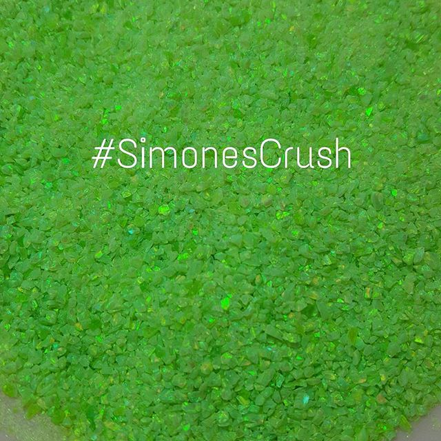 Simon's Crush named after our Ambassador @urbanblissbeauty  A hot new neon green opal crush. I'm busy packaging now...and hopefully I can show you a demo nail tomorrow.  I'm crazy packaging for my trade show #BestNailShowTx ●www.AthenAROCKS.com ● #athenarocksnails #athenarocksopals #exoticnailart #rockculture #getstoned #healingstonesfornails #opalcrushcabs #opalcrushnails