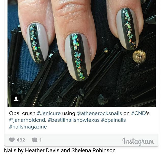 What a great surprise to see @janarnold wearing my #ellscrush on her nails for my 1st annual trade show @bestnailshowtx. I have a few more pics of us together prob tomorrow.  #janicure #athenarocksopals #rockculture #exoticnailart