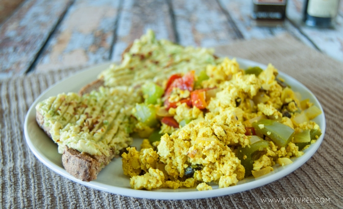 Vegan tofu scramble with avocado on toast