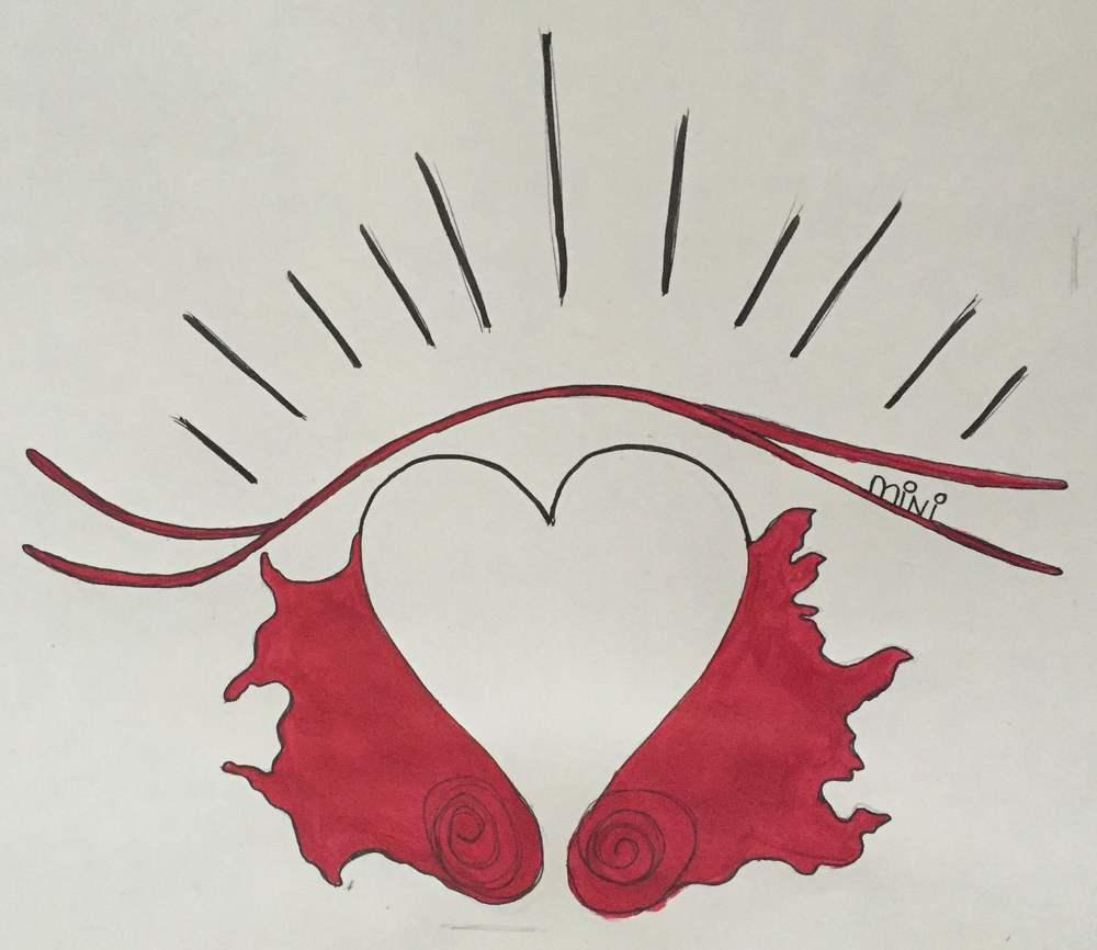Fiber-Castell artist pen (black), Craftsmart acrylic paint (Rouge Toscan)