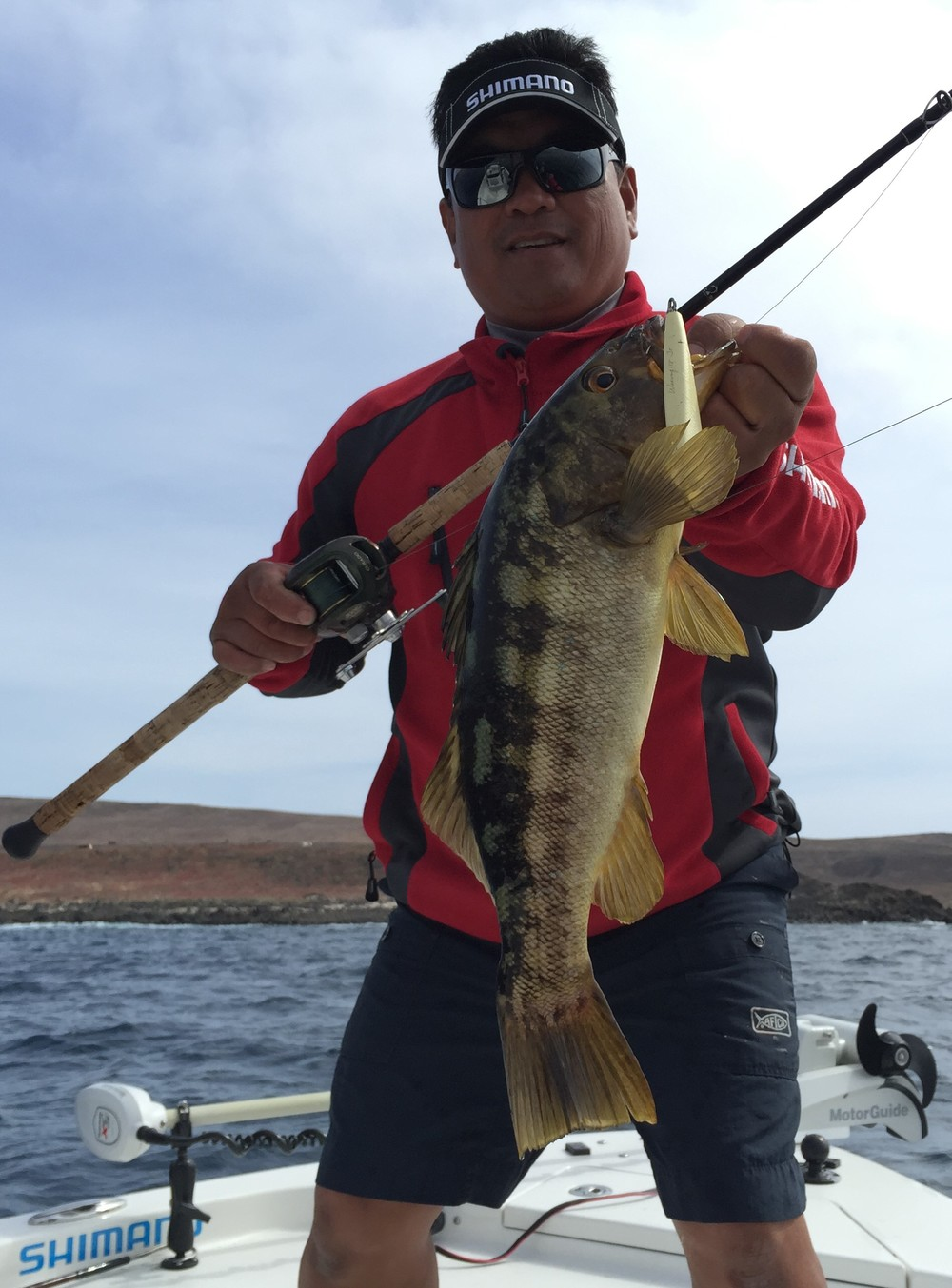 Nice Calico Bass caught on a Shimano 118 Wax Reel, 65 pound Power Pro Wing, 80MH Terez WWRod, Curado 300EJ
