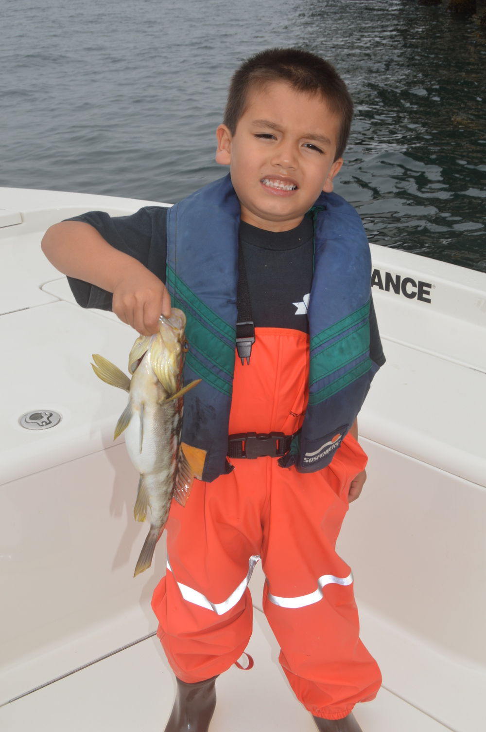 . . . and Cayden's first Calico Bass!