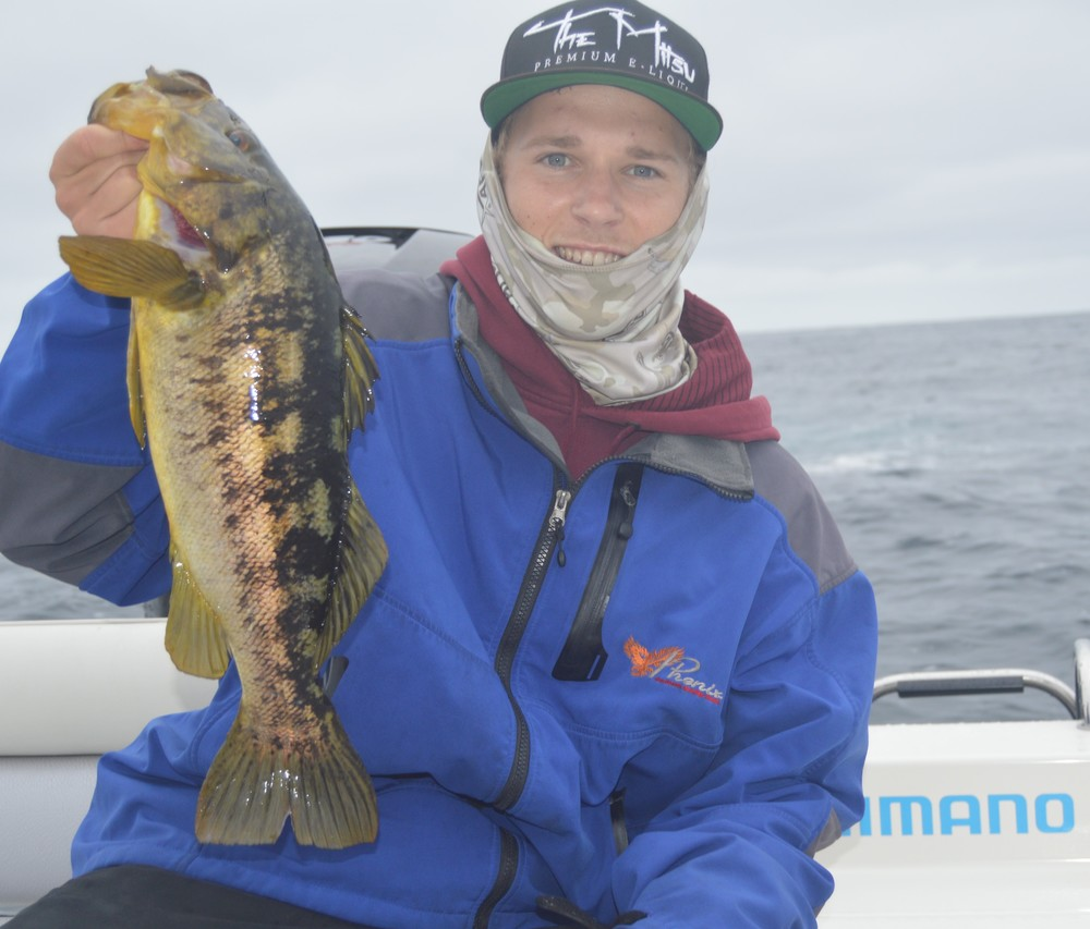 Spencer with a chunky off shore Calico