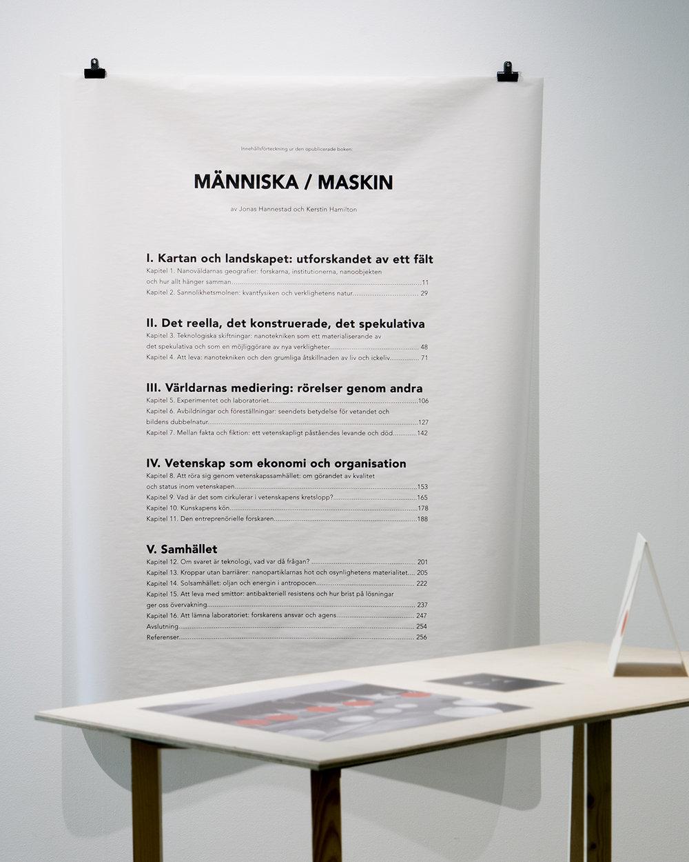 Innehållsförteckning ur den opublicerade boken Människa_Maskin - Installationsbild Galleri Format 2016 _ bild David Magnusson.jpg
