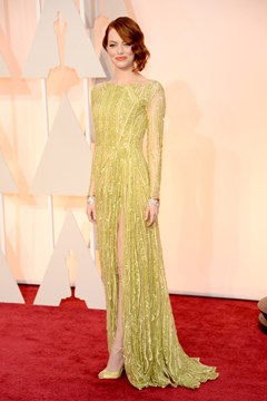 This is how to do the Oscars. I knew Emma would rock the red carpet and shedid, in this shimmering yellow couture dress by Elie Saab.