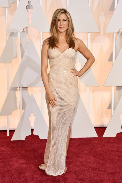 Jennifer Aniston in a sparkly nude Versace gown doesn't do it for you, we don't know what will.