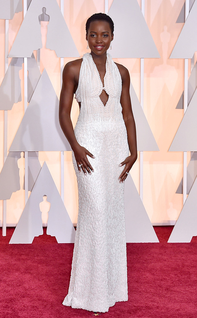 : Lupita is the only star who could pull off this pearl-adorned Calvin Klein Collection dress which was custom made.