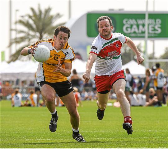 Arabian Celt player Kerry man Frank Mc Carthy in action at the World Games. I won't say Up Mayo!!!