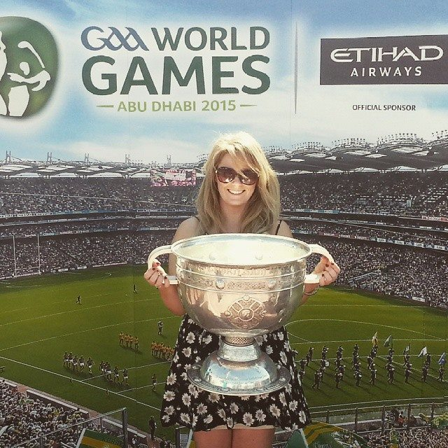 Arabian Celt Sinead Harrington proudly holding The Sam Maguire Cup she's taking it back to Mayo!