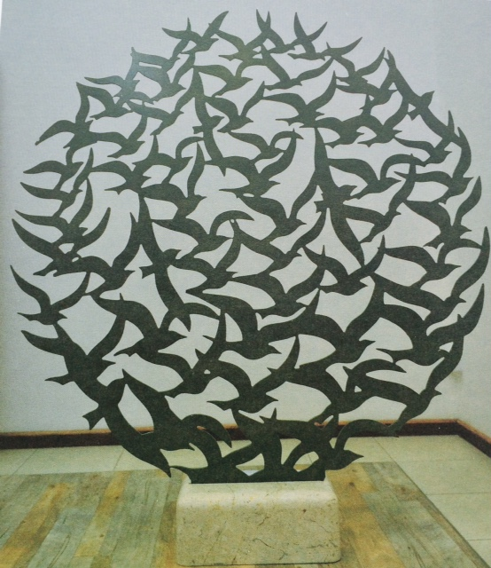 Flying Birds 100 x 100 x 20 Metal and Marble Artist Ali Al Mahmeed.