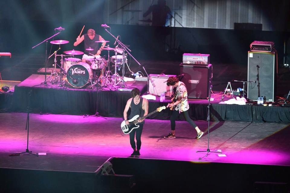 The Vamps live on stage at the BIC
