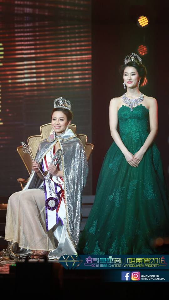 Maria Rincon 王思思 crowned as Miss Chinese Vancouver 2016 with Jennifer Cooseman
