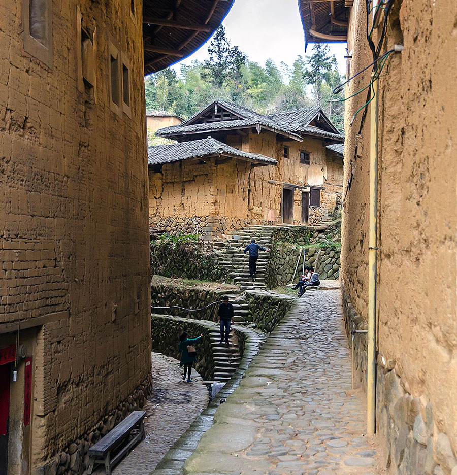 An alley in one of the Hakka villages not far from Xiamen. It's a UNESCO World Heritage Site.