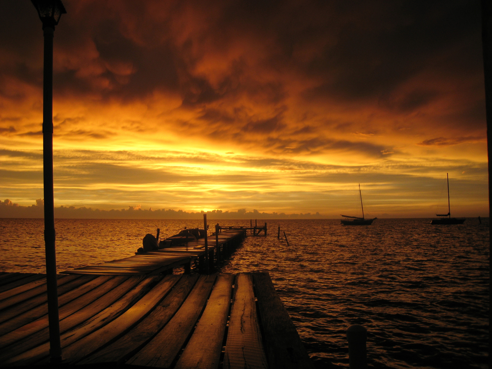 Sunset at Neil & Molly's Pier, Caye Caulker, Belize, CA
